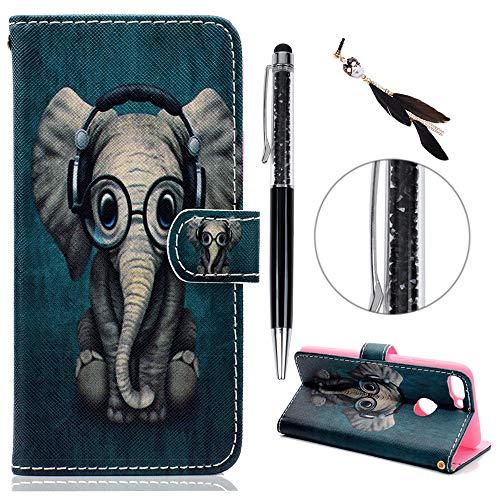 iAdvantec Huawei P Smart Hülle Case, Filp PU Leder Wallet Handyhülle Flipcase : Bookstyle Gemalt Tasche Brieftasche Schutzhülle in Baby Elefant + Stöpsel + Stylus