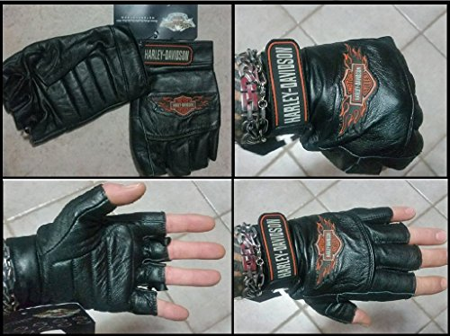 Harley davidson mezzi guanti in pelle taglia l logo emblema harley