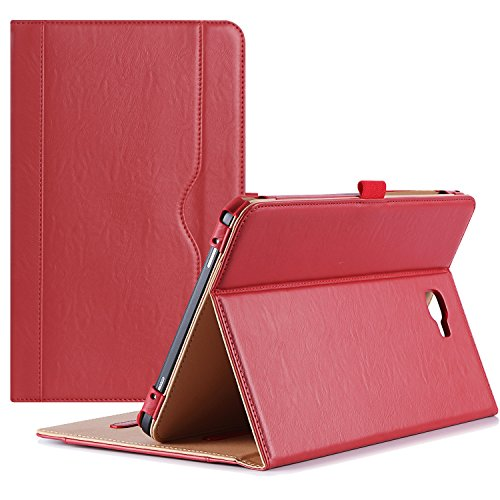 ProCase Samsung Galaxy Tab A 10.1 Hülle - Stand Folio Case Cover für Galaxy Tab Eine 10,1 Zoll Tablette SM-T580 T585, mit mehreren Betrachtungswinkeln, Dokumentenkarte Tasche - Rot (10 Samsung Tablet Tasche)