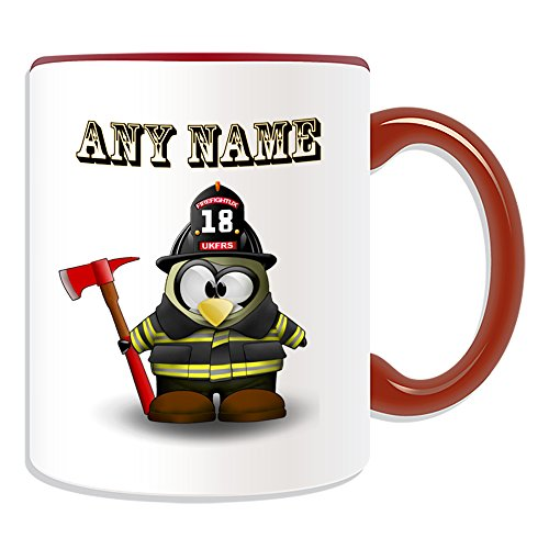 Personalisiertes Geschenk–Feuerwehrmann mit Axt Tasse (Pinguin in Kostüm Design Thema, Farbe Optionen)–alle Nachricht/Name auf Ihre einzigartige–Feuerwehr ukfrs, keramik, (Womens Kostüm Feuerwehrmann Rot)