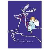 4er Set Niedliche Unternehmen Weihnachtskarten mit Engel auf Rentier, innen blanko/ weiß als geschäftliche Weihnachtsgrüße / Neujahrskarte / Firmen Weihnachtskarte für Kunden, Geschäftspartner, Mitarbeiter: Wir wünschen eine zauberhafte Weihnacht…