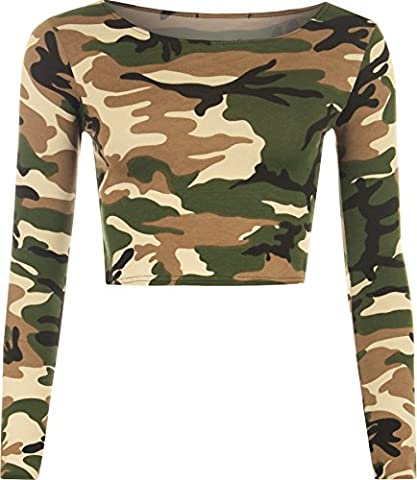 Womens Camouflage Animal Print Crop Top Ladies Leopard Long Sleeve Short - Camouflage - 8-10