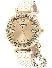 VANKER Cristal Rhinestone de lujo de cuero de imitación Banda Corazón colgante reloj de cuarzo (Color: Blanco)
