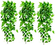 3PCS Artificial Hanging Plants Fake Hanging Plant, Faux Ivy Vine for Wall House Room Indoor Outdoor Decoration