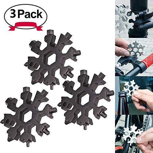 [3 Unidades]DAYNEW All-Powerful Tool Card-19-in-1 Stainless Steel Multi-Function Portable Snowflake EDC Keychain/Bottle Opener/Screwdriver for Outdoor Travel Camping/Regalo Para Hombres-Negro