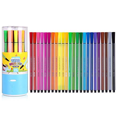 DPFXNN Aquarell-Stiftspitzen-Set, 24 abwaschbare, ungiftige Marker, mischbarer Wasserpinsel, Aquarellpapierblock, Für Erwachsene und Kinder, Für Kunst, Zeichnen, Kalligraphie,