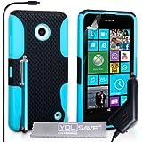 Yousave Accessories Coque Nokia Lumia 630 / 635 Etui Noir / Bleu Silicone Gel Dur Mailles Combo Housse Avec Stylet Et Chargeur De Voiture
