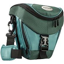Mantona Premium - Funda para cámara reflex (correa para hombro, cierre de cremallera y clip), color verde azulado