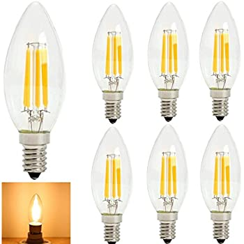 Lampadina a Lume di Candela a Filamento LED 2W Lampada di Base Candelabre E14 2700K Bianco Caldo 20W Sostituzione Incandescente Top Pallottola in Forma di Siluro C35