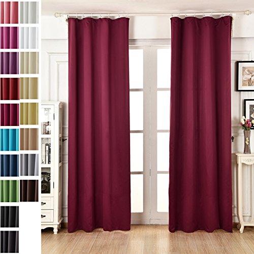 WOLTU #489-2, 2er Set Gardinen Vorhang blickdicht mit Kräuselband Verdunklungsvorhänge Verdunkelungsgardine , leicht schwere Thermovorhang für Wohnzimmer Schlafzimmer Tür , 135x245 cm , Brombeere