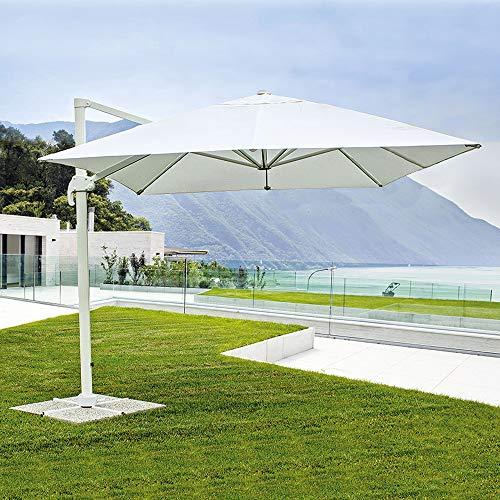 Fp-tech ombrellone da giardino decentrato 3x3 orientabile girevole a 360° palo alluminio (struttura bianca e telo bianco)