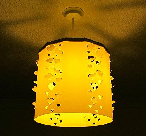 Gelb Herzen Lampenschirm siluety + Ereki Magnetverschluss Set (weitere Farben erhältlich) das Licht Schatten einfach, schnell & Sicher mit magnetischem Attraction, ideal für Kinderzimmer, Baby Dusche, Neugeborene, Kinder