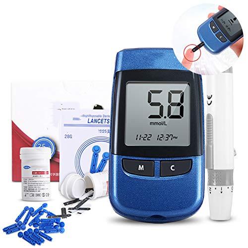 WSN Blutzuckermessgerät Diabetes-Test-Kit schmerzlos Lanzettengerät medizinischen Test Glukose 100 Teststreifen + 100 Blutentnahmenadel + 100 Alkohol Baumwolle zu senden