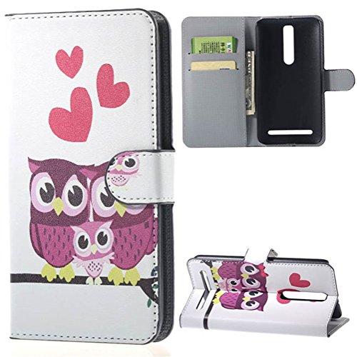 ZenFone 2 ZE550ML Custodia,in Pelle Flip Case con carte di credito slot Protettiva Caso Guscio per Asus ZenFone 2 (ZE551ML/ZE550ML) 5.5 pollici Cover Casi Portafoglio Case(Viola gatti)