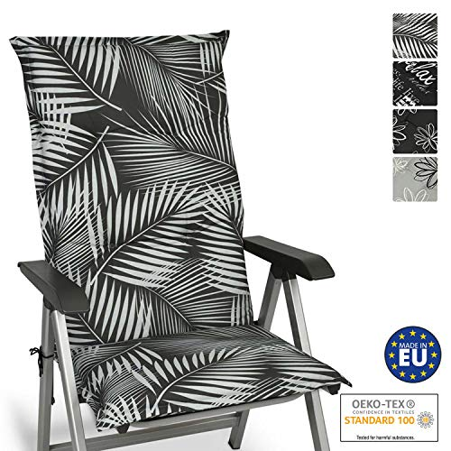 Beautissu Cojín para sillas de Exterior y jardín con Respaldo Alto Tropic 120x50x6 cm tumbonas, mecedoras...