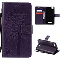 CaseFirst Wiko Lenny 2 Wallet Leather Case with Protective Durable PU Leather Shell Folio flip Cell Phone Cover Bag with Card Slots,Cash Pocket,Purple