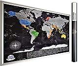 Mapa del mundo con banderas de los Estados en Estados Unidos, Canadá, Rusia, China, Australia, con cartografía detallada, fabricado en Europa