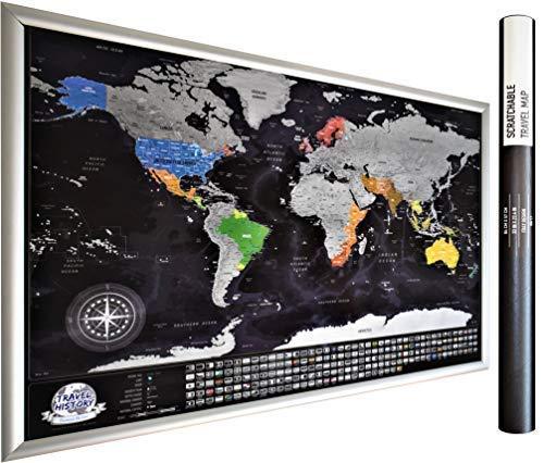 XXL personale gratta Mappa viaggio con bandiere, Multicolor, 84x54x0.2 cm. Mappa Con 196 Paese Bandiere, 732 Città, 76 Profondità Dei Mari, 13 Picchi Di Montagna.