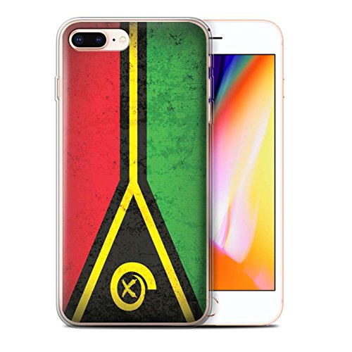 Stuff4 Gel TPU Hülle / Case für Apple iPhone 8 Plus / Kiribati Muster / Ozeanische Flagge Kollektion Vanuatu/Vanuatuan