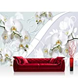Vlies Fototapete 350x245 cm PREMIUM PLUS Wand Foto Tapete Wand Bild Vliestapete - Orchideen Tapete Blumen verspielt weiß - no. 305