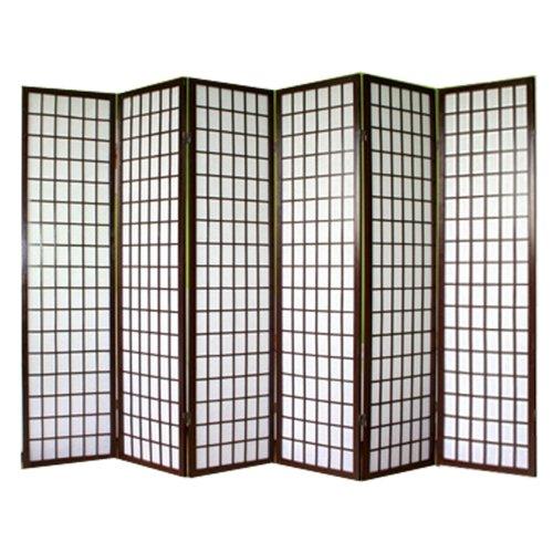 PEGANE Biombo japonés de madera color negro dibujo bambú de 6 paneles
