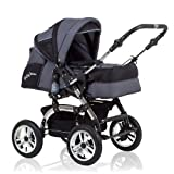 15 teiliges Qualitäts-Kinderwagenset 2 in 1 CITY DRIVER: Kinderwagen + Buggy - all inclusive Paket in Farbe GRAU-SCHWARZ