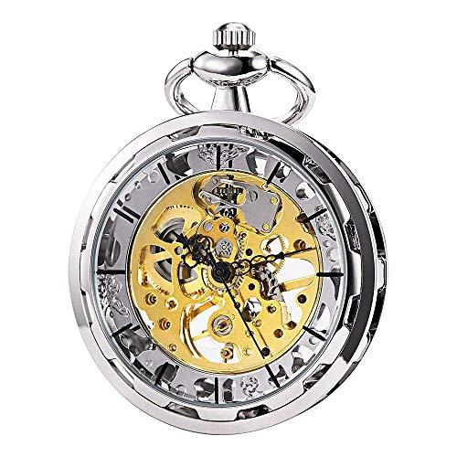 HSXQQL Taschenuhr Taschenuhr - Hollow Steampunk Skeleton Dial sichtbare Zahnräder Mechanisches Uhrwerk Open Face, Silber, Silber