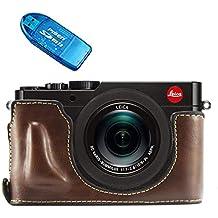 First2savvv XJPT-TYP109-D10G10 marron oscuro Funda Cámara cuero de la PU cámara digital bolsa caso cubierta para Leica D-LUX (Typ 109) + Lector de tarjetas SD