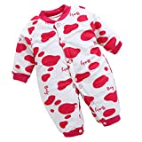 Bebé Manga Larga Mameluco - Otoño Invierno Calentar Ropa de Recién Nacido Niña Niño Botón Buzos Equipar Punto Rosa Roja 59