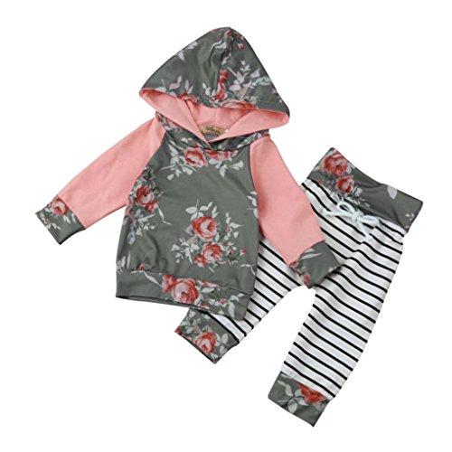 Bekleidung Longra Kinder Baby Jungen Mädchen Floral Kapuzenmantel Hoodie Sweatshirt Tops Hosen Casual-Outfits Frühjahr-Sommer Kleiderset(0-24 Monate) (100CM 18Monate, Gray01) Floral Cotton-hose