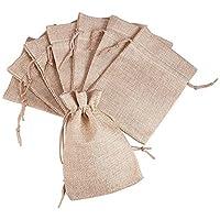 Pandahall 100 Pcs Bolsas de Lino y Cáñamo con Cordón, Bolsas de Regalo, Comida, Joyas, Cuentas, Abalorios, Color de Amarillo Claro, 13,5 x 9.5 cm
