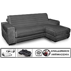Biancheria&Casa Copridivano Angolare con Penisola Antimacchia per Divano con Chaise Longue Relax : Colore - Grigio, Misura - 290 cm.
