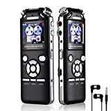 Diktiergerät Digital Digital Voice Recorder Diktiergerät Voice Recorder Voice Audio Recorder 16 GB Double Mikrofone Intelligente Noise Reduction Design Memory MP3 mit farbigen Bildschirm Schwarz