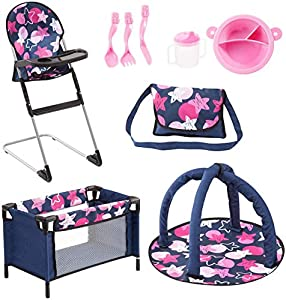 Accesorios para muñecas con cuna de viaje, trona, bolso (estrellas, azul, rosa)