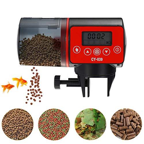 Qweidown Distributeur Automatique De Nourriture pour Poissons avec écran LCD, Distributeur Automatique d'aquarium, Fish Tank Fish Food Auto Mangeoires pour Le