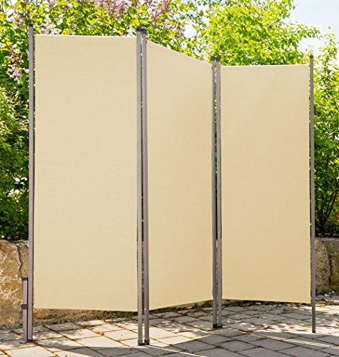 CV Paravent Outdoor Metall/Stoff Creme beige Trennwand Raumteiler Sichtschutz Windschutz Sonnenschutz 170 x 170 cm