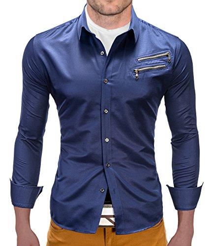 Better Sleep tylz deezip Slim Fit Camicia da uomo a maniche lunghe camicie tempo libero Business 3colori (S-XL) Dunkel Blau S