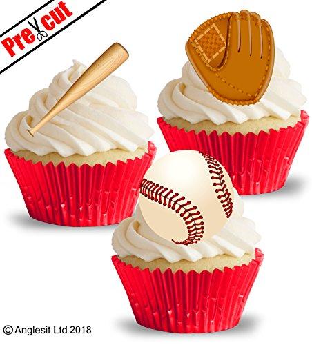 eball Handschuh Bat & Ball essbarem Reispapier/Waffel Papier Cupcake Kuchen Dessert Topper Sport Party Geburtstag Dekorationen ()