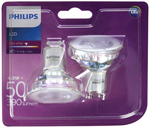 Philips - Bombilla LED Foco GU10 Cristal, 4.6 W Equivalente a 50...
