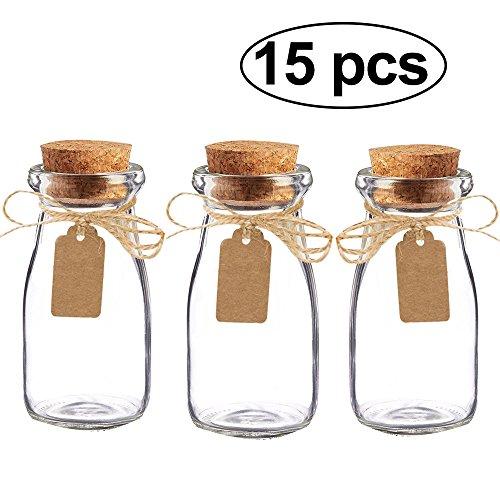 Awtlife - Juego de 15 tarros de leche de cristal vintage con tapas de corcho para boda o fiesta