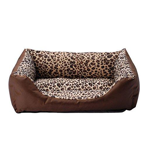 Dfghbn Warmes Nest Haustier Nest Mode Leopard Square Pet Nest Katze Wurf Hundebett Kleiner Hund Teddy Weiches Haustierbett (Größe : L)