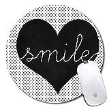 Tapis de souris rond personnalisé, motif de coeur noir imprimé, tapis de souris personnalisé confortable en caoutchouc antidérapant (7.87x7.87inch)