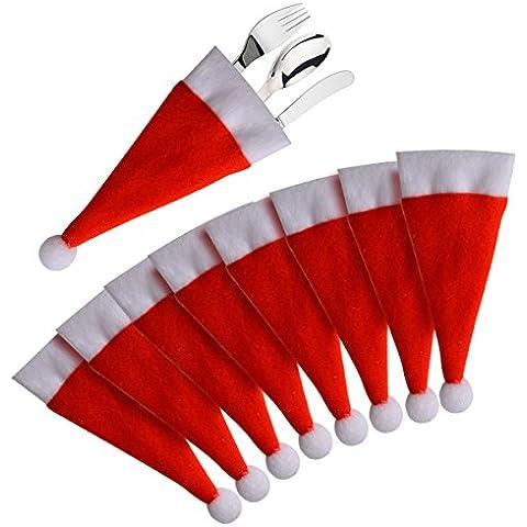 8 Pezzi Cucina Posate Vestito Natale Cappello a Forma di Coltelli Tasca Porta Forche