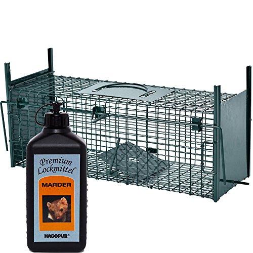 Produktbild Lebendfalle Secure-M 64 cm + 100 ml Hagopur Marder Lockstoff - zuverlässige & sichere Tierfalle mit 2 Eingängen - sofort einsatzbereit & wetterfest - ideal für Marder, Kaninchen, Katzen, Ratten