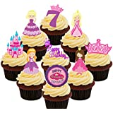 7th cumpleaños princesa – Cupcake – stand-up comestibles oblea decoraciones para tartas, Pack of 36