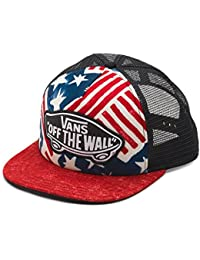 0d6e35fb11cf4 Vans Off The Wall Women s USA Print Beach Girl Trucker Hat Cap - Red White