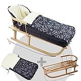 BambiniWelt24 BAMBINIWELT Kombi-Angebot Holz-Schlitten mit Rückenlehne & Zugseil + universaler Winterfußsack (108cm), auch geeignet für Babyschale, Kinderwagen, Buggy, aus Wolle (Flowers schwarz)