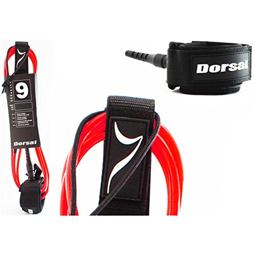 Dorsal ProComp Surfboard Surf Leash - Red 9 FT Longboard