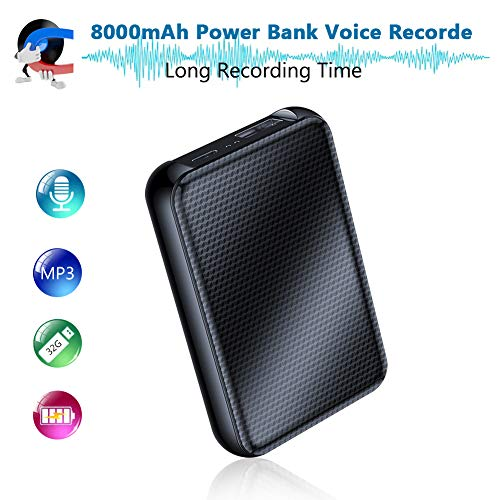 Digitales Diktiergerät, 8000mh Power Bank Bis zu 60 Tage kontinuierliche Aufnahmegerät, 32 GB 2400 Stunden Aufzeichnungskapazität, Audio Abhörgeräte mit Spracherkennung | Eingebauter starker Magnet
