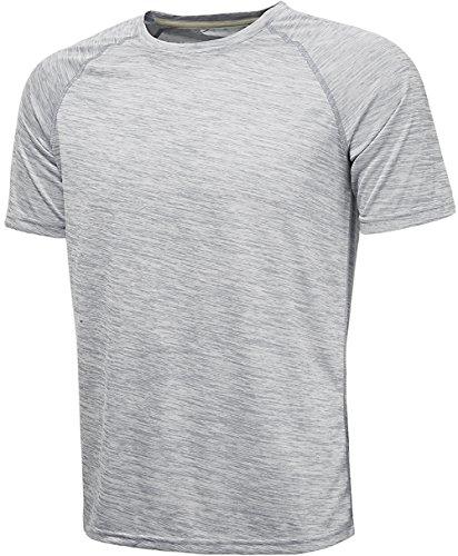 KomPrexx Sport T Shirts for Men - QUICK DRY WICKING - Running Tops Training Tee Short Sleeve Sportswear (PurpleWhite,XL)